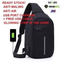 Jual TAS TRAVEL ANTI COPET ANTI AIR SELEMPANG SMART BAG USB PORT CHARGER Murah