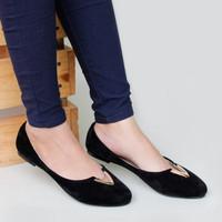 Jual PROMO Sepatu Flat Shoes Murah Suede RS04 Hitam Murah