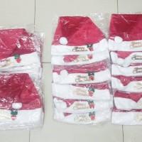 Jual Topi Natal Santa Dewasa Kain Tebal Halus Plat Merry Christmas Import Murah
