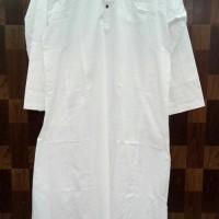 baju gamis pria putih bahan cotton india serat halus ad Diskon