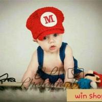 Kostum rajut foto bayi #mario bros Limited