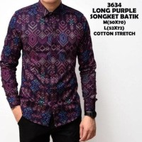 Jual Terbaru Kemeja Batik Songket Pria Purple Panjang Slimfit Kerja Kantor Murah