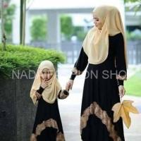 Jual [cp mk bergo black VL] pakaian muslim pasangan ibu dan anak Murah