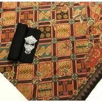 kain batik solo tiga negeri kembangan tanpa embos dan bros