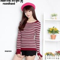 Jual [Sabrina stripe2 RH RO] blouse wanita rajut stretch salur maroon Murah