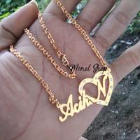Kalung ukir nama lapis emas + permata - perhiasan Custom nama