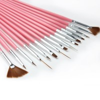 Nail art brush 15pcs kuas nailart pen set liner striping dotting