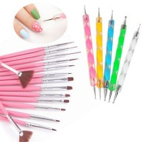 Nail art brush + dotting tools kuas nailart doting tool liner striping