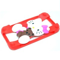 Jual Hello Kitty Bumper Ring Silicone Case Smartphone 4 - 5.5in Red  Murah
