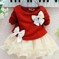 Jual Baby n Anak kit Baby Girl dress Long Sleeve Bow Tutu / baju Tutu Murah