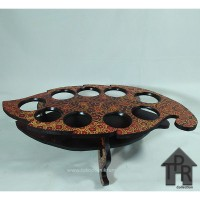 Rak aqua gelas - kayu batik model daun - i9