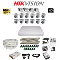 Paket Lengkap A CCTV Hikvision THD 7116 16CH 12in + 4out 2MP 2TB @100M