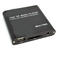 Mini Full HD 1080P HDMI MultiMedia HDD Player with TF Card   Blac T30