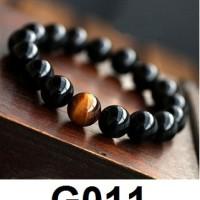 Gelang Batu Giok Hitam Tiger Eye Pria Wanita Bracelet Black Jade G011
