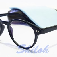Frame Kacamata Kaca Mata Bulat Reza Rahadian Hitam (Frame+Lensa)