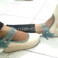 Jual Sepatu Wanita Cewek Sepatu Wedges Platform Sabrina Krem Wedges Warna Murah
