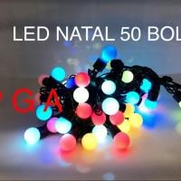 Jual LAMPU NATAL LED / CHRISTMAS / LAMPU HIAS / LAMPU DEKORASI WARM 50 BOLA Murah