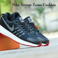 Sepatu Sport Nike Airmax Zoom Cushlon / Hitam Abu / Kets Pria Wanita