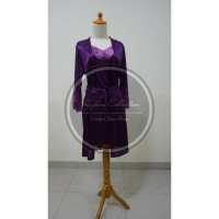 Jual Dress Setelan Kimono Satin 1605 Purple Murah