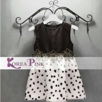 Dress Pesta Anak Import Hitam Putih Polka