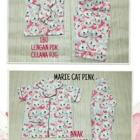 Marie cat pink setelan CP baju tidur piyama couple ibu dan anak