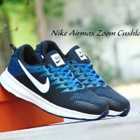 Sepatu Sport Nike Airmax Zoom Cushlon / Biru Navy Putih / Kets Pria