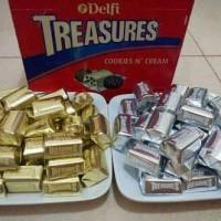 Jual Cokelat Delfi Treasure Cookies Cream Silver / Golden Almond Kiloan Murah