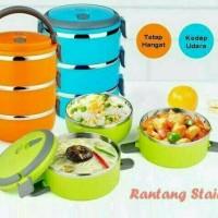 Jual Rantang 3 Susun Polos Stainless / Kotak Makan Lunch Box Murah