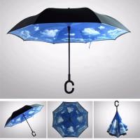 Jual Payung Terbalik Unik Kazbrella Unik Double Layer Gagang C Black Blue Murah