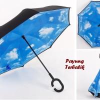 Jual Payung Terbalik Kazbrella Gagang C BIRU AWAN Murah