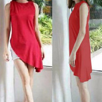 Jual [Dress Gisel Merah SW] dress wanita wolly crepe merah Murah