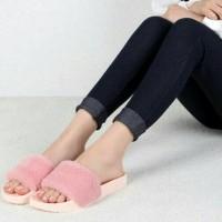 Jual toko sepatu wanita online murah meriah SANDAL BULU PREMIUM SALEM SAND Murah