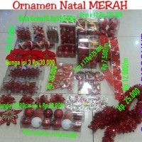 Jual Hiasan natal Merah / pita natal/ bola 7 / 6 / 5 / 4  cm ornamen akseso Murah