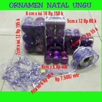 Jual Ornamen hiasan natal ungu / pita natal / bola 7 / 6 / 5 / 4 cm pohon n Murah