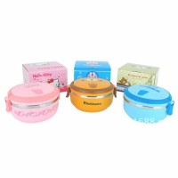 Jual 1 Susun Rantang Bulat LUNCH BOX HELLO KITTY DORAEMON RILAKUMA Murah