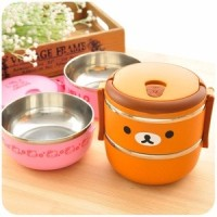 Jual RANTANG 2 SUSUN STAINLESS LUNCH BOX HELLO KITTY DORAEMON RILAKUMA unik Murah