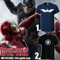 Jual Kaos Captain America Iron Man Civil Wars Logo Murah