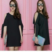 Jual (Dress Martha Hitam SW) dress wanita wolly crepe hitam Murah Murah