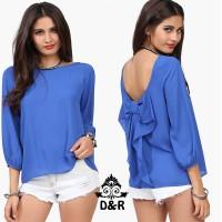 Jual (back ribbon DR) blouse wanita spandek ungu Limited Murah