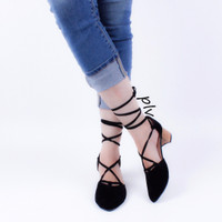 Jual Pointed Toe Cut Out D'orsay Lace Up Suede Block Heels Murah