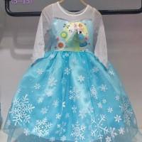 Baju Dress Kostum Frozen Gambar Elsa dan Anna Buntut Bisa Dilepas