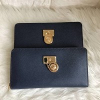 Dompet Michael Kors Original / MK Hamilton Wallet Zip Saffiano Navy