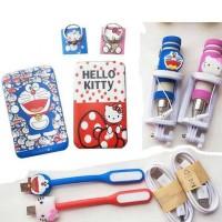Jual Power Bank Paket Set Gift Karakter Hello Kitty Doraemon 5 in 1 Murah