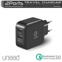 Jual UNEED Dual USB Wall Smart Charger Qualcomm Quick Charge Terjamin Murah