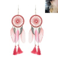 E04195 - Anting Hooks Dreamcatcher Pink