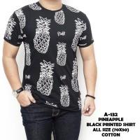 Jual Kaos Murah Pendek Hitam Motif Nanas Pineapple Black Printed Shirt A132 Murah