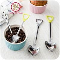Sendok teh unik bentuk sekop stainless shovel shape tea spoon