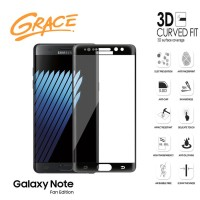 Grace Samsung Galaxy Note FE / Fan Edition - 3D Tempered Glass - Hitam