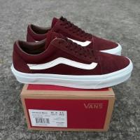 Sepatu Sneakers Kets Pria Cowok Murah Vans Old Skool DT Merah Marun