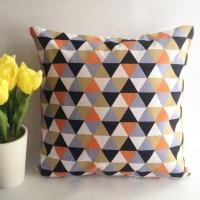 TERMURAH Sarung bantal sofa / Cushion cover - Triangle black orange